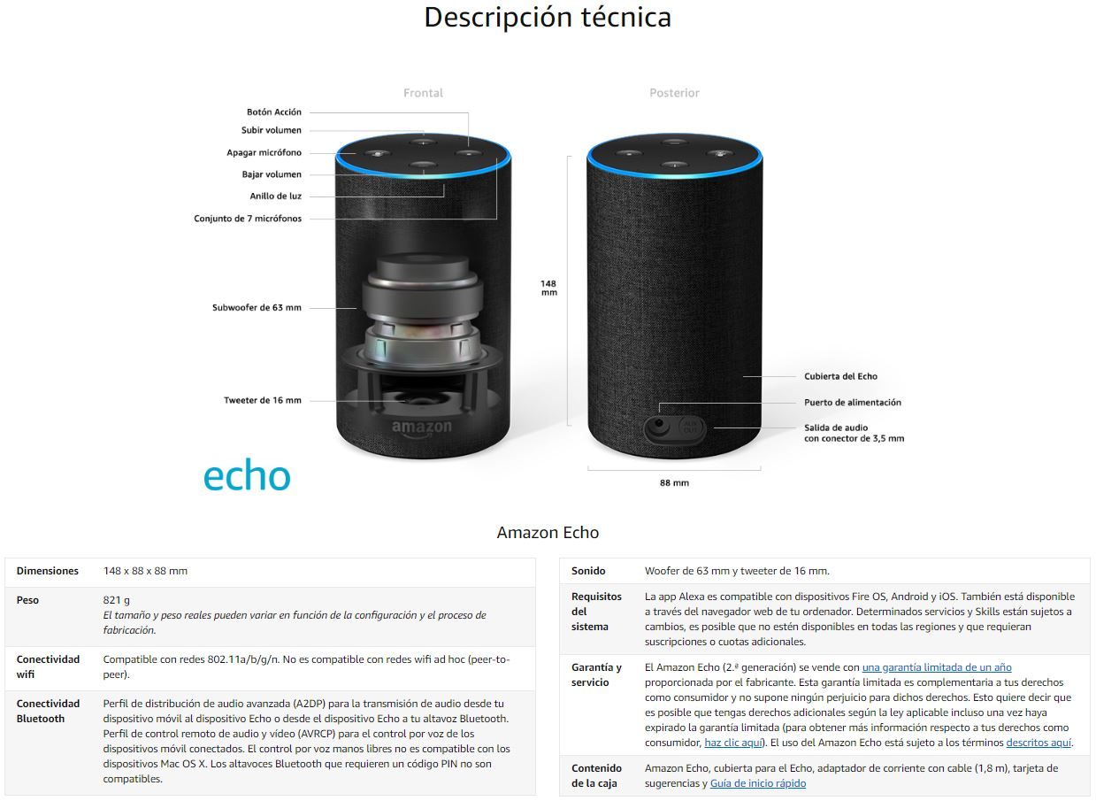 Amazon Echo caracteristicas