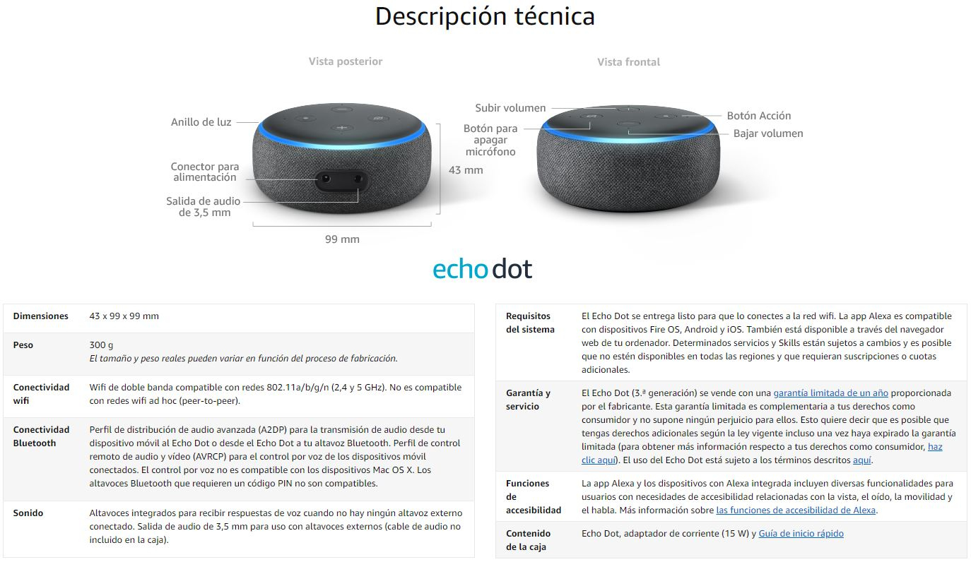 Amazon Echo dot caracteristicas