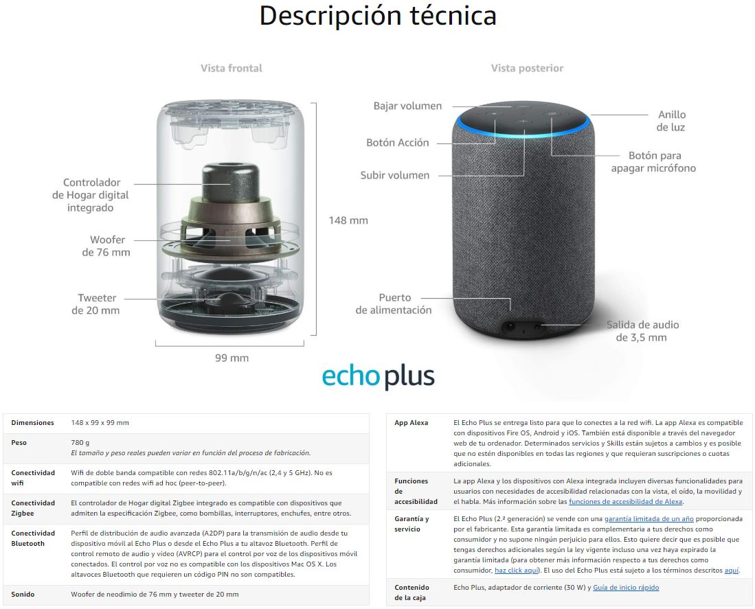Amazon Echo plus caracteristicas
